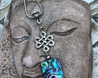 Abalone pendant, abalone necklace, abalone jewelry, wire wrapped pendant, sterling silver wire wrapped, Celtic pendant, Irish