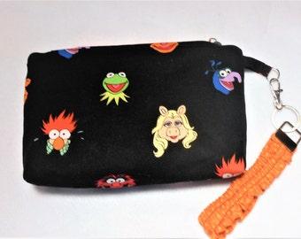 The Muppets Keychain Wristlet Makeup pouch, Kermit, Miss Piggy, Fozzie, Muppets pouch, Muppets purse, Kermit the Frog Bag, wristlet pouch