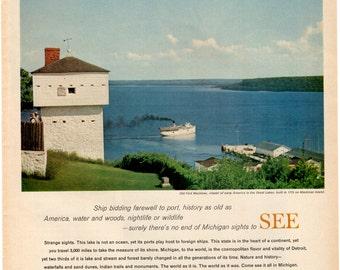 1966 Michigan vintage magazine travel ad wall decor business decor (1701LG)