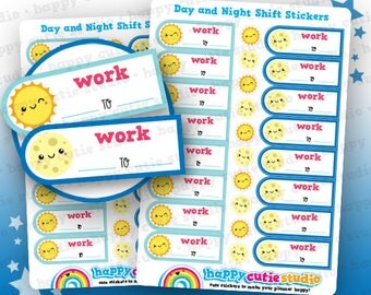 16 Cute Day and Night Shift/Work Planner Stickers, Filofax, Erin Condren, Happy Planner,  Kawaii, Cute Sticker, UK