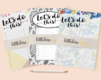 3x To Do List | INSTANT DOWNLOAD | A4 | Bundle | Colour me, Bold and Dainty Floral