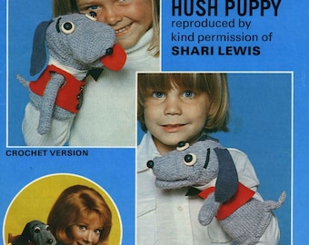Hush Puppy Puppets, Knit & Crochet Pattern. PDF Instant Download.