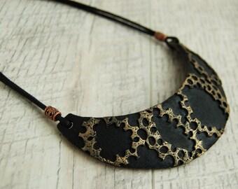 Statement necklace Bib necklace Unusual black necklace Urban necklace Unique handmade jewelry Polymer clay necklace