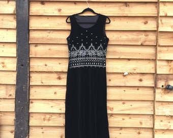 Boho 90s long velvet dress / black stetchy  velvet maxi dress / boho silver pattterns / 90s grunge black dress / 90s LBD / cool 90s dress /