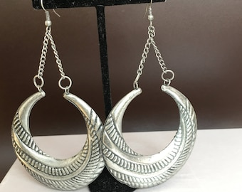 Silver Round African Earrings