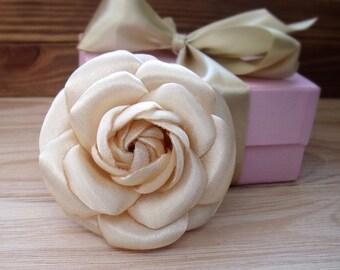 Camellia brooch, chanel style, flower brooch, beige camellia, camellia for hair, camellia decoration, handmade flower, stylish brooch,2017