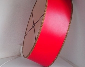 Shade Red Oval vintage plastic border and gold braid