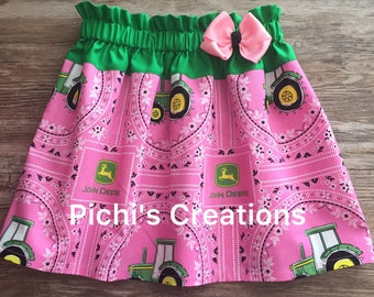 John Deere Pink Skirt, Farm Girl Skirt, Country Girl Skirt, Tractor Skirt