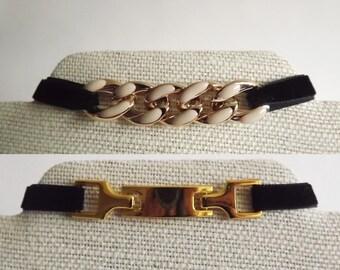 2-Pack Black Velvet Gold Connector Link Chokers - Gold Chain Choker, Black And Gold Tag Choker