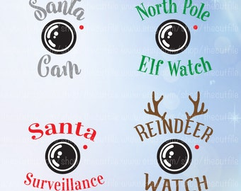 Santa Cam svg, Christmas svg bundle, Elf watch, Reindeer Watch, ornament design file, cutting files for silhouette or cricut