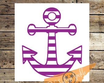 Striped Anchor Decal | Nautical Decal | Vinyl Decal