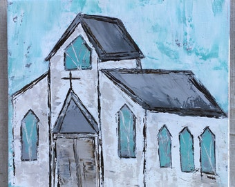 Little White Country Church painted on a 10x10 gallery wrapped canvas