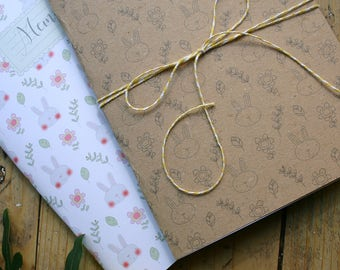 White Rabbit with patterns page and notebooks set stripes