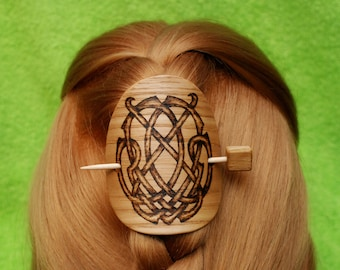 Celtic Shawl Pin,Hair Barrette, Hair Stick, Slide, Wooden Shawl Pin, Wife, Moms,Wooden shawl pin, Shawl stick, Sweater clasp, Pullover pin