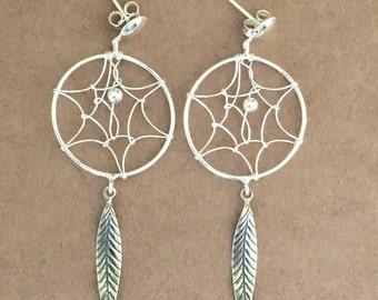 Dream Catcher Earrings, Sterling Silver Earrings, Dangle Earrings, Boho Earrings, Drop Earrings, Gypsy Earrings, Dream Catcher Jewelry