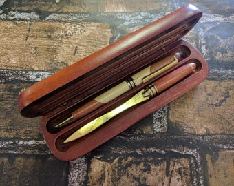 Engraved Rosewood Pen and Letter Opener Set with Case