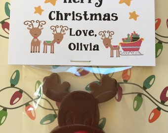 Merry Christmas Reindeer Crayons Personalized Crayons Happy Holidays Class gifts