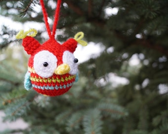 SALE Christmas Ornaments Crochet owl Christmas Gift  Owl ornaments Gift For Baby New Year Decor Christmas Tree Decorations Holiday Decor toy