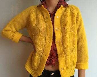 Vintage sz s bright yellow cardigan