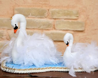 White Swans, Swans, Swans' Lake, Baptism, Home Decoration, Baby Room, Baby Decoration, Baby Party, Baby Shower, Baby Gift, Handmade Swans