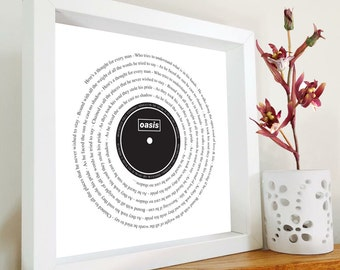 Oasis - Cast No Shadow framed song lyrics  - Vinyl lover | Christmas Gift | Manchester Bands | Gift for dad | Music lover | Retro |Gallagher