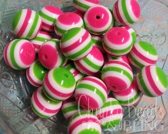 10pc. 20mm Hot Pink & Lime Striped Resin Beads