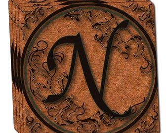 Vintage Letter N Initial Black Tan Thin Cork Coaster Set Of 4