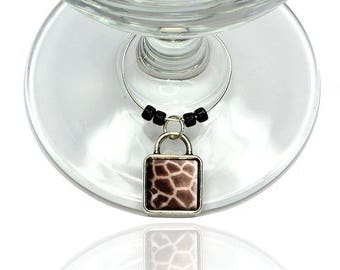 Giraffe Print Impressions Wine Glass Drink Marker Charm Ring