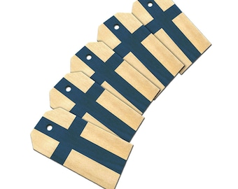 Flag Of Finland Wooden Wood Gift Tag Set