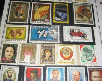 26 Hungary Postage Stamps from the 1970s and Earlier in Plastic Protection