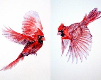 Cardinal wall decal, red birds, red cardinals, bird home decor, bird wall stickers, northern cardinal, cardinal wall decor, cardinals gifts
