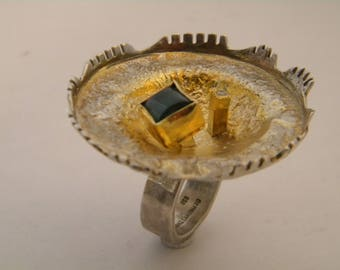 handcrafted contemporary silver gold 18k tourmaline ring