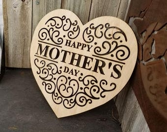 Happy Mother's Day Heart with scrolls cut out of it made from 1/4 inch premium plywood with a stainable surface.