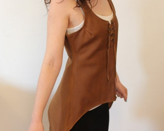 Brown Medieval leather tunic. LARP's tunic. sleeveless leather tunic