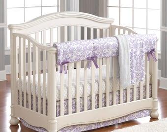 Abigail Lavender Damask 4 pc. Crib Set   Bumperless Crib Bedding   Lavender Baby Bedding