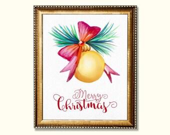 Christmas wall art printable Merry Christmas art print Holiday art printable Winter art print Christmas art printable Christmas wall decor