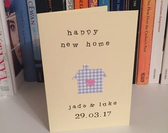 Personalised New Home, First Home, Couple Moving House Heart Card