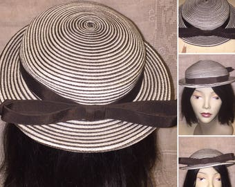 Vintage 1950s 50s 1960s 60s Brown and White Striped Hat with Bow and Brim