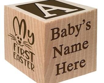 Easter Block - My First Easter - Easter gift keepsake Custom Engraved wooden baby blocks for baby girl baby boy newborn infant