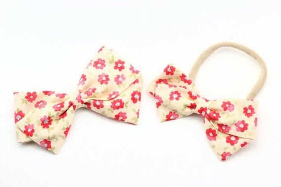 Baby Girl, Toddler, Girls Fabric Bow, Newborn, Hand tied bow, Yellow cream floral