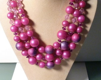 Deauville 3 Strand Beaded Necklace and Earrings