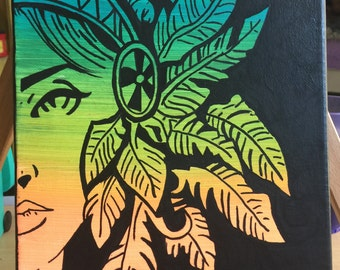 Aztec| Tropical| Goddess| Painting| Canvas