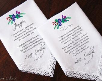 Wedding Handkerchief-PRINTED-Mother of the Bride-Mother of Groom Set! FREE Gift Cases!!! Wedding Hankerchief-Gifts-Accessories-Hankerchief