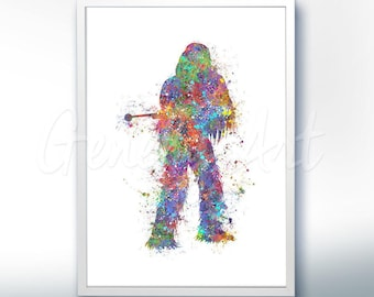 Star Wars Chewbacca The Force Awakens Watercolor Art Silhouette Poster Print - Wall Decor - Watercolor Painting - Home Decor - Kids Decor