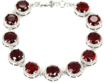 Sterling Silver Blood Ruby Gemstone Bracelet with AAA CZ Accents