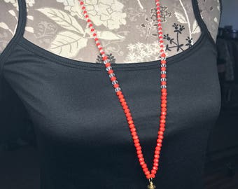 Red glass beaded crystal bullet necklace