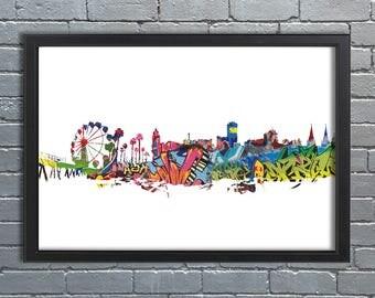 Adelaide / Glenelg Skyline Abstract- Graffiti, Street art, Cityscape, Artwork, Wallart, poster, City, Picture