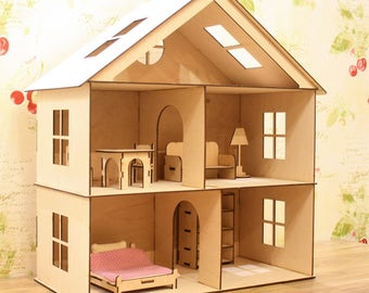 Dollhouse with furniture, Plywood doll house, Dollhouse, Wooden dollhouse, Dollhouse kit, Natural dollhouse, Girl doll house, Plywood house