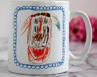 Child's Drawing on a Mug, Personalised Coffee Cup, Father's Day gift, Teacher's Gift, Children's Drawing Keepsake, Gift for grandparents