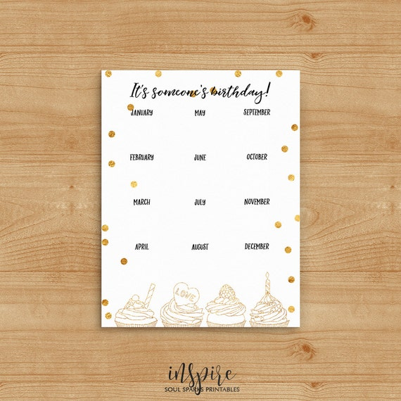 Family Birthday Calendar Birthday List With Old Cupcake And